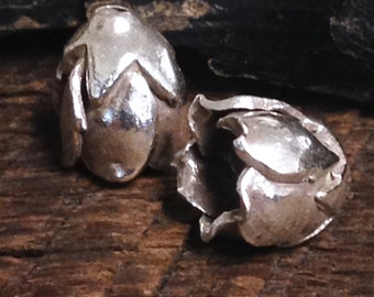 NEW Medium Fine Silver Bead Caps - 2 Beading Cones or End Caps   Budding Flower - 12.5mm MB218