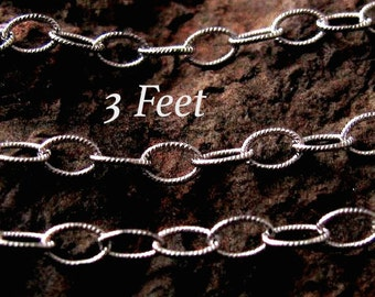 Sterling Silver Cable Chain Oxidized and Textured Oval Links 2.7mm x 4mm  - 3 feet  - CH2