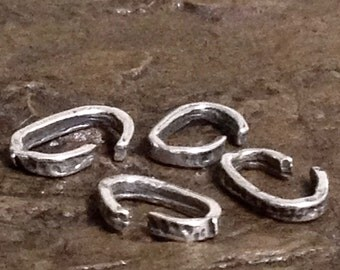 10 Oval Artisan Links - Sterling Silver Oval Jump Rings -  Handcrafted Rustic Connectors 10mm AC56a