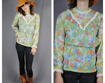 ON SALE 50% PRAIRIE Revival Vintage Crochet trim Floral High Collar Gauze Blouse