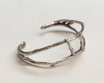 Sterling Silver Cuff, Silver Wires Cuff, Silver Bracelet, Sterling Silver Bracelet, Stiff Cuff, Stiff Silver Bracelet,Silver Branch Bracelet