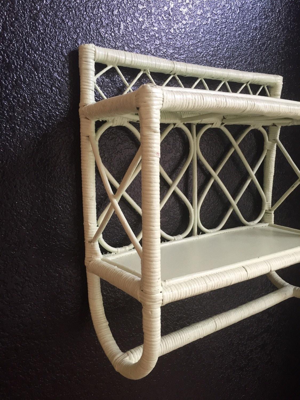 Vintage Bamboo Rattan Shelf Wall Rack Towel Rack By
