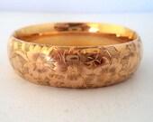 Antique Gold Filled Bangle Bracelet Signed F & B PAT. Wide Hinged Bangle