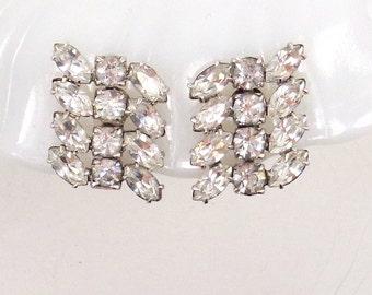 Vintage Clear Brilliant and Navette Rhinestone Earrings Rhodium Plated