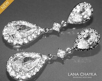 Cubic Zirconia Bridal Earrings Silver CZ Wedding Earrings Clear Cubic Zirconia Teardrop Dangle Earrings Wedding Earrings Bridal CZ Jewelry