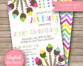 Printable Art Party Birthday Party Invitation, Painting Party Birthday Party Invite, Paint Brushes, Polka Dots - Art Party in Rainbow