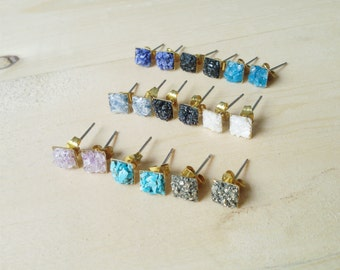 Tiny druzy square stud everyday earrings