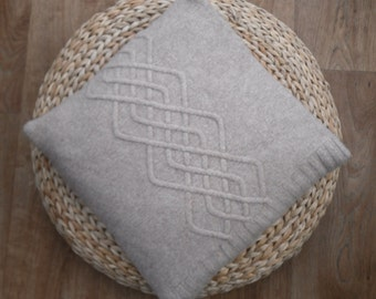Taupe Wool Cushion / Throw Pillow ,  Recycled / upcycled cable knit felted on both sides , 100% lambswool cushion , stunning cables