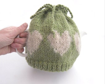Wool tea pot cover , Valentine Tea cosy , rustic heart tea pot cozy , country kitchen accessory , mothers day gift for her , kitchen gift