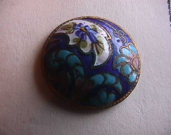 Vintage Champleve Button on Brass, Paisley, Dainty Blue Flowers