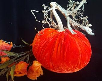 One Silk Velvet Pumpkin with a Real Pumpkin Stem - #280