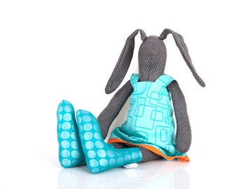 stuffed rabbit doll Dark cloth bunny doll in Turquoise geometric dress & metallic socks - Stuffed bunny doll -newborn handmade eco rag doll