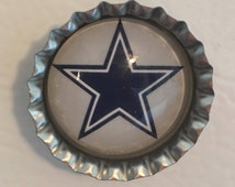 Dallas Cowboys bottle cap refrigerator magnet perfect holiday grab bag, Christmas, mom, dad, sports fan, White elephant teacher gift
