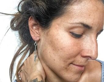 Silver Twig Earrings, Nature Inspired Earrings, Silver Dangle Earrings