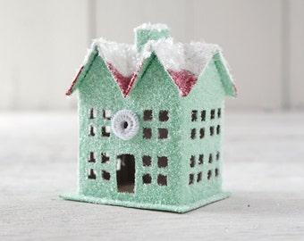 Christmas Cottage - Jadeite Green Putz House Christmas Decoration