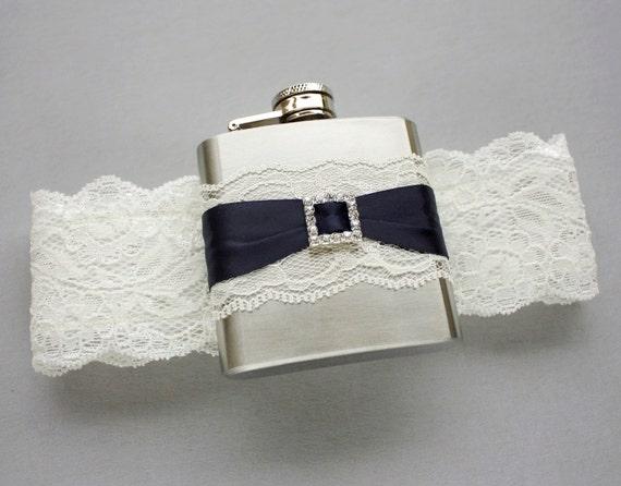 Ivory & Navy Blue FLASK GARTER, Something Blue Wedding Garter with Flask, Ivory Lace Bridal Garter, Navy Blue Garter, Bridal Gift for Her