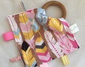 Chevron and Feathers Teething Taggie - Perfect Baby Shower Gift!