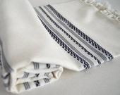 SALE 50 OFF/ Turkish BATH Towel Peshtemal / Soft Bamboo / Navy Blue Pattern / Beach, Spa, Swim, Pool Towels and Wrap