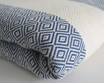 SALE 50/ OFF Diamond Blanket / Dark Blue / Bedcover, Beach blanket, Sofa throw, Traditional, Tablecloth, Twin blankets