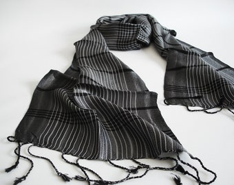 The Best Quality Willow Fibers and Silk Handwoven Scarf  - Black - Shipping with FedEx