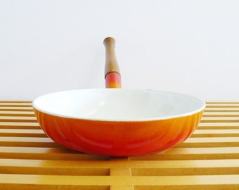 Mid-Century Modern Descoware Flame Red Saute Pan Made in Belgium