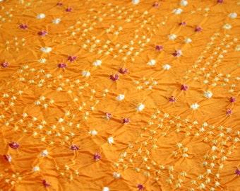 Orange & Pink - Bandhani (Indian Tie-Dyed) cotton Fabric  (1 yard)
