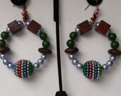 Unique gifts cyber Monday ethnic tribal moroccan festive beads hoop dangle wire wrapped glass beads chunky beads fashion earrings jewelry