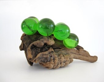 Vintage Lucite Green Large Grape Cluster On Driftwood Coffee Table Decor Mid Century Fairy Garden