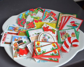 Large lot 150+ Unused Vintage Christmas Gift Tags Paper Trims Foil Leaf Holiday Collection Red Green Silver Blue Present Tags