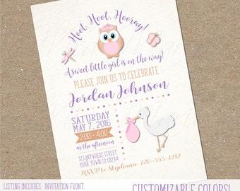 Baby Shower Invitation, Girl Owl Shower, Pink and Purple Owl, Baby Girl Shower Invitation, Hoot Hoot Hooray, Digital Shower Invitation