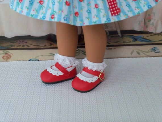"""14"""" Doll  Shoes / Red and White Scalloped Two Tone/  Accessories Fit American Girl Wellie Wishers®"""