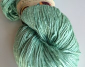 Soft banana and cotton single ply handspun yarn. 300g. Full lustre, pearly sheen, soft recycled ethical yarn, knitting yarn, crochet yarn.