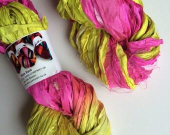 Silk sari ribbon, 100g, premium quality sari silk, ribbon yarn, Tuscan sun. Knitting, jewellery making and more.