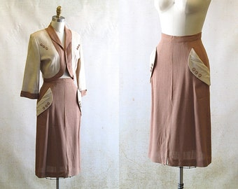 1950's Linen Two Piece Skirt and Jacket | VLV Mad Men Rockabilly | Size Small