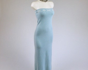 90's Baby Blue Ralph Lauren Maxi Sweater Knit Tube Dress with Crystal Rhinestone Embelishment  // S - M