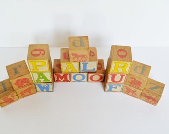 Antique Wooden Toy Blocks Embossed - Set of 18