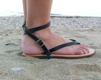 Ankle Strap Leather Sandals, black sandals, sandals