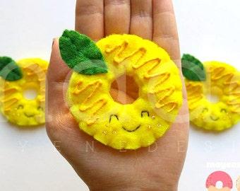 lemon donut brooch with glaze, felt food pin