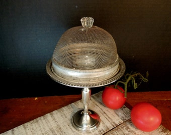 Vintage Sterling Silver Pedestal Dish / Rustic Metal Mesh Cloche / Dome / Cover / Lid /  Sterling Pedestal Candy Compote / Glass Knob