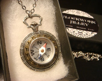 Working Compass Pocket Watch Style Pendant Necklace (2205)