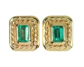 Gleaming Gold! 3.80tcw Artisian Colombian Emerald & Gold Jewelry Suite 14k