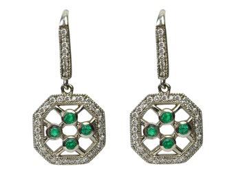 Hypnotic! 1.70tcw Colombian Emerald & Diamond Dangle Earrings 14k