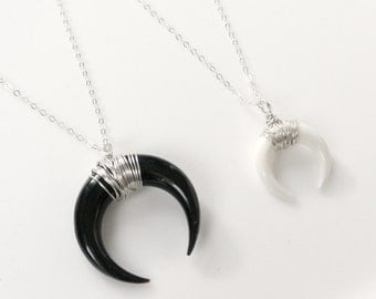 Moon Necklace, Double Horn Necklace Silver, Crescent Necklace, Everyday Jewelry, Layering Necklace, Black White Horn Necklace, Boho Necklace