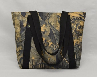Gothic Sorceress vs Grim Reaper Fabric Tote Bag with Zipper and Pockets, Black and Brown, Ready To Ship