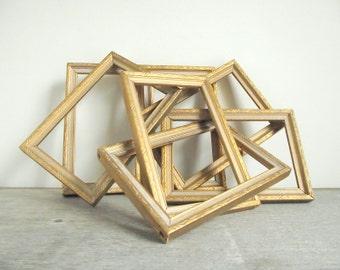 Vintage Wooden Frames / Set of 7 Open Wood 4 x 6 Frames / Gold White Wood Finish / Holiday Decor / Wedding Decor / Shabby Cottage Chic Decor