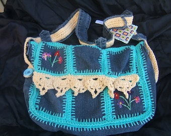 Denim Patchwork Hand Crochet Lace Blue and Multi Color Cross-body Purse Messenger Bag
