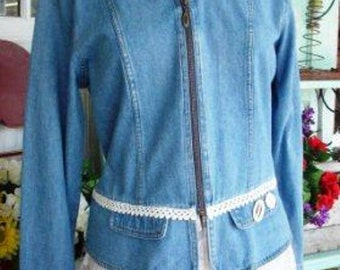 Denim Meets Lace - Upcycled, Recycled Denim Jacket, OOAK, Unique, Classy