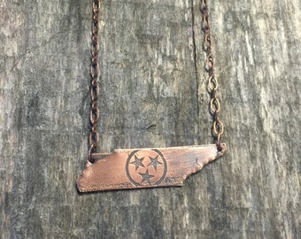 Tennessee shaped COPPER necklace tri star Tennessee State Flag