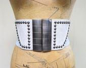 Vintage 1990s Belt / 90s Gray Rockstar Superhero Stretch Belt / Small - Medium