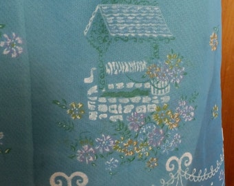Vintage Sheer Blue Nylon Flocked Wishing Well Garden Party Apron